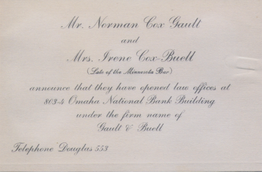Buell and Cox law firm business card