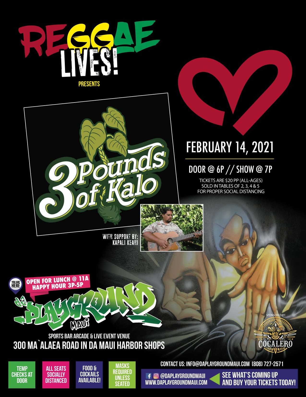 Reggae Lives! presents 3 pounds of Kalo with Support by Kapali Kea!