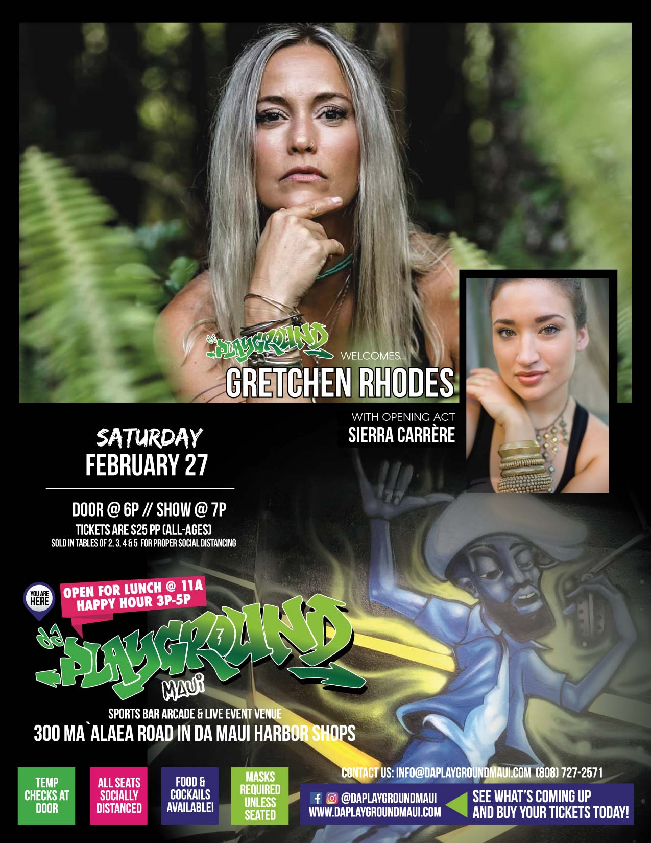 da Playground Maui welcomes Gretchen Rhodes with guest Sierra Carrère