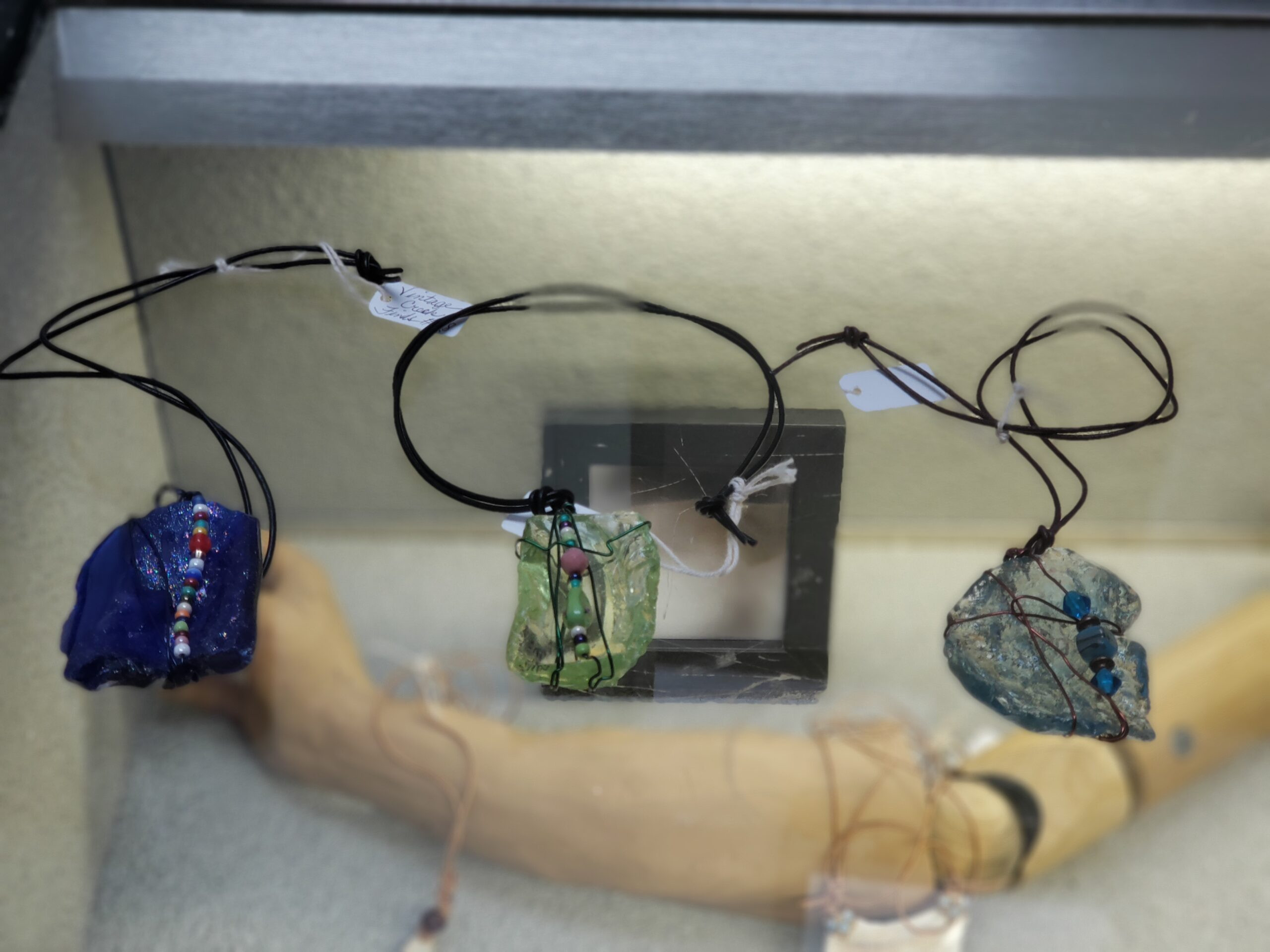 Glass pendants by Carolyn McCulloch $28-$35