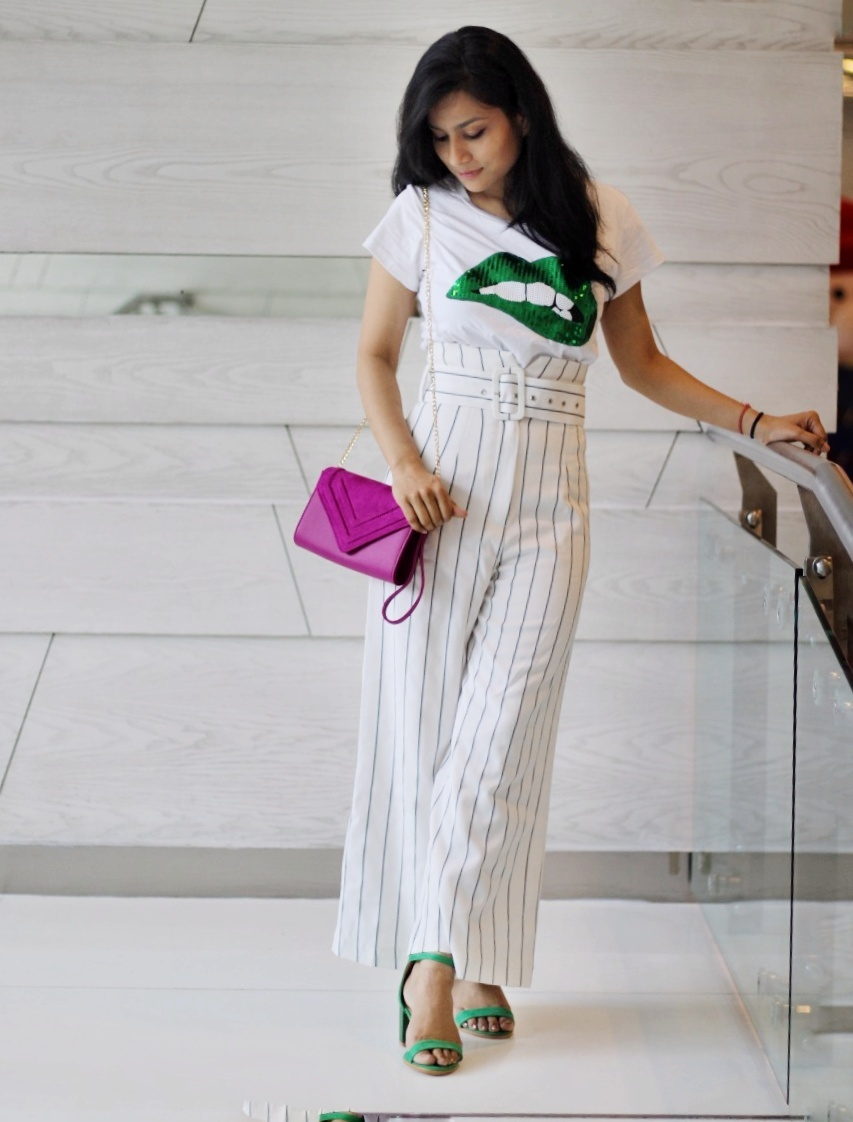 Sequin top with culottes - 2019 fashion trend