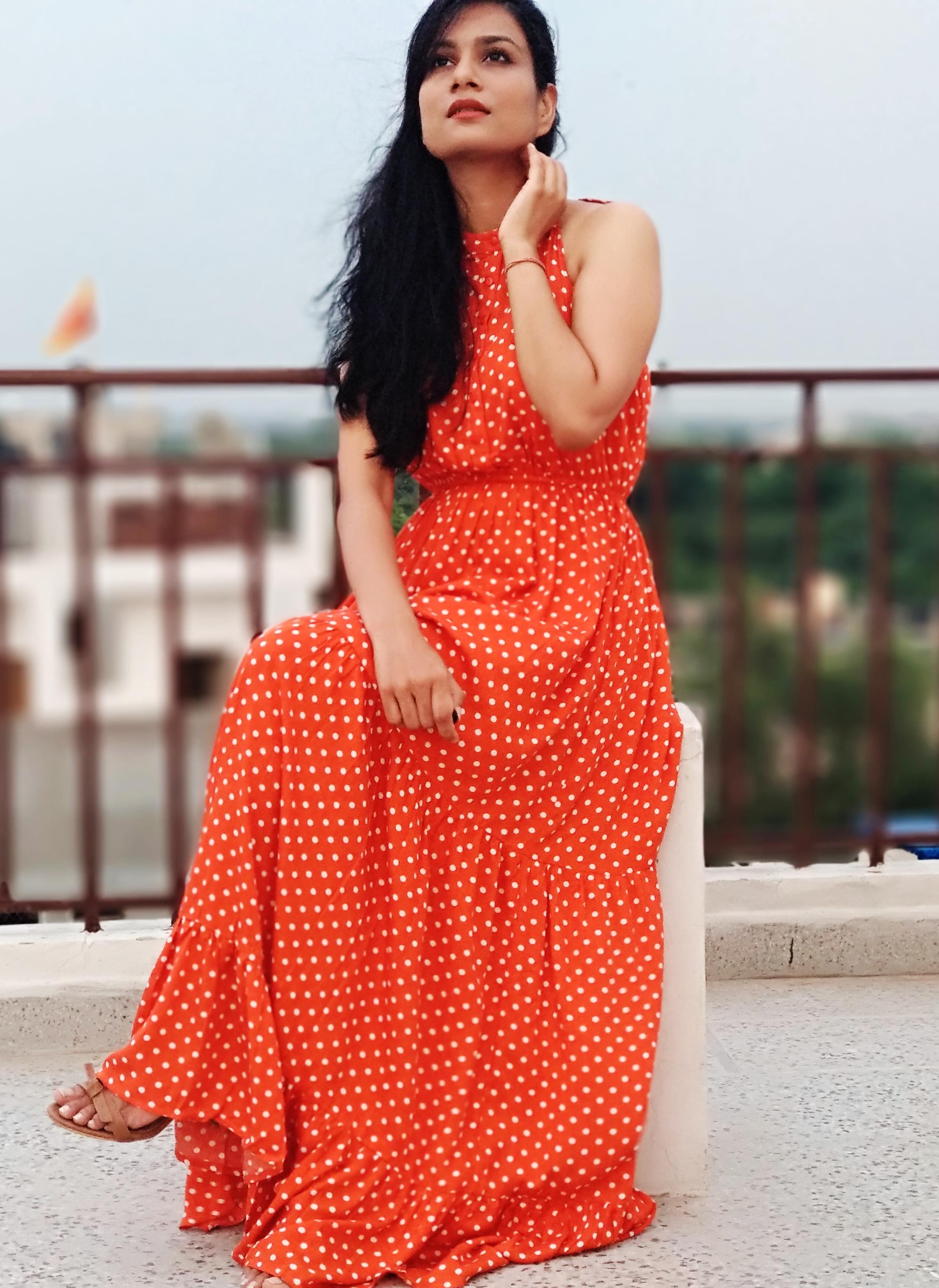 Fall fashion trend polka dot maxi dress