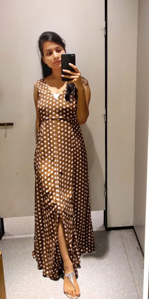 light brown polka dot maxi dress with front slit