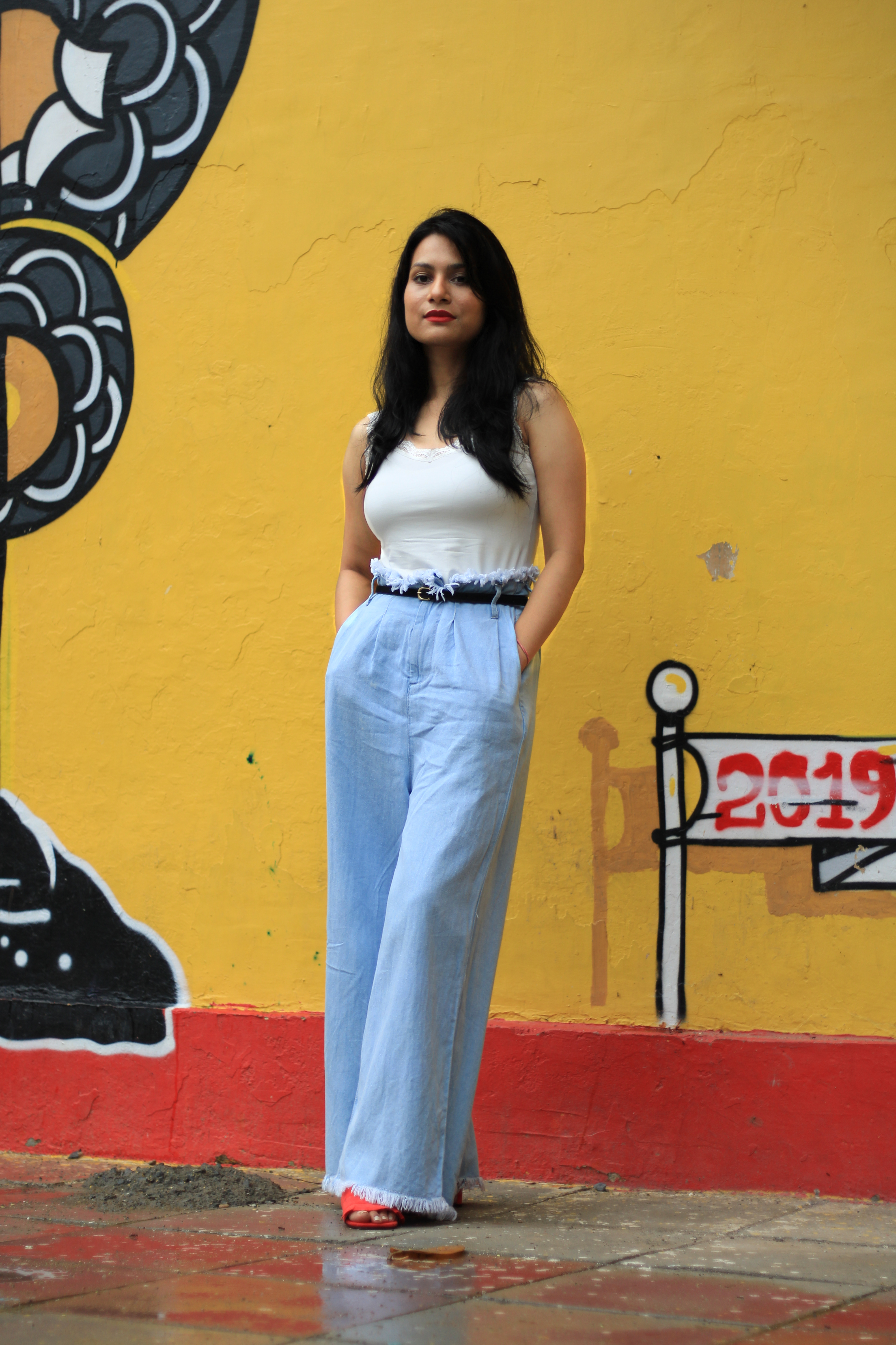 How to wear wide leg pants and denim palazzo