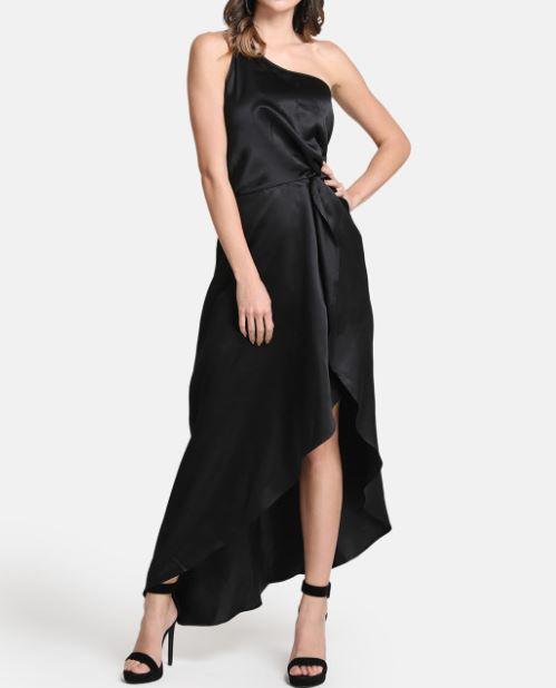 Kazo black solid dress