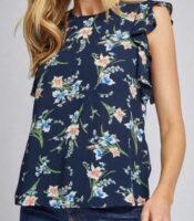floral print ruffle sleeves top