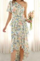 one shoulder assymetrical floral dress
