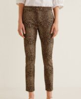 animal printed cigarette trousers