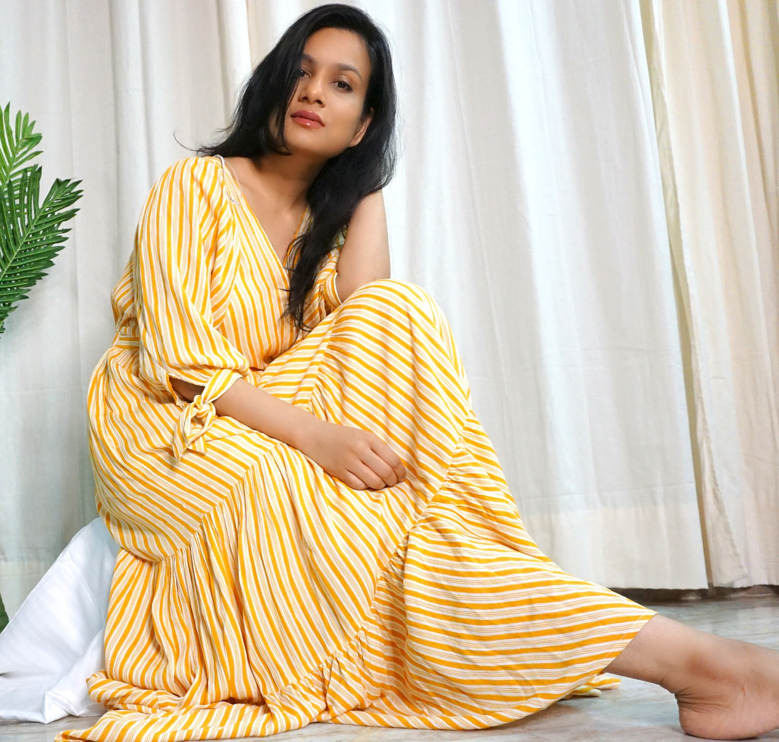 "Outfit details: Mustard Maxi dress - LOV by Westside"", Brown toe looped flats>"