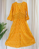 iWishh Ikat printed mustard yellow dress