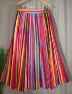 iwishh rainbow striped pleated long skirt