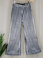 iWishh solid striped black and white pants
