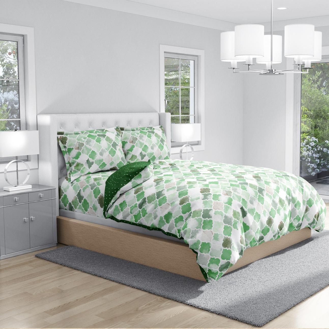 Antimicrobial 100% Cotton Ethnic Motif Green Bedsheet Set