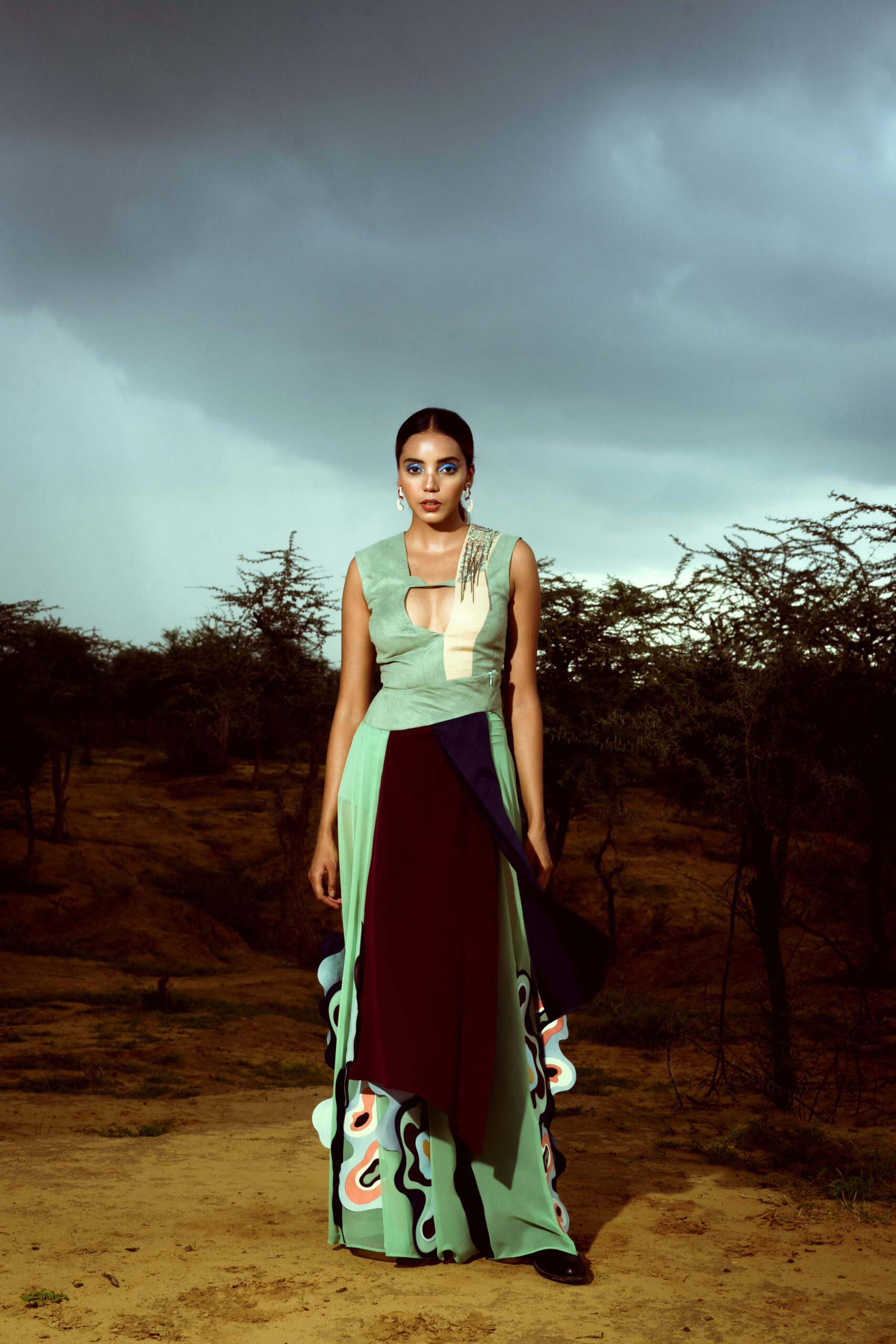 Folded Waves Bodysuit & Skirt by Siddhant Agrawal