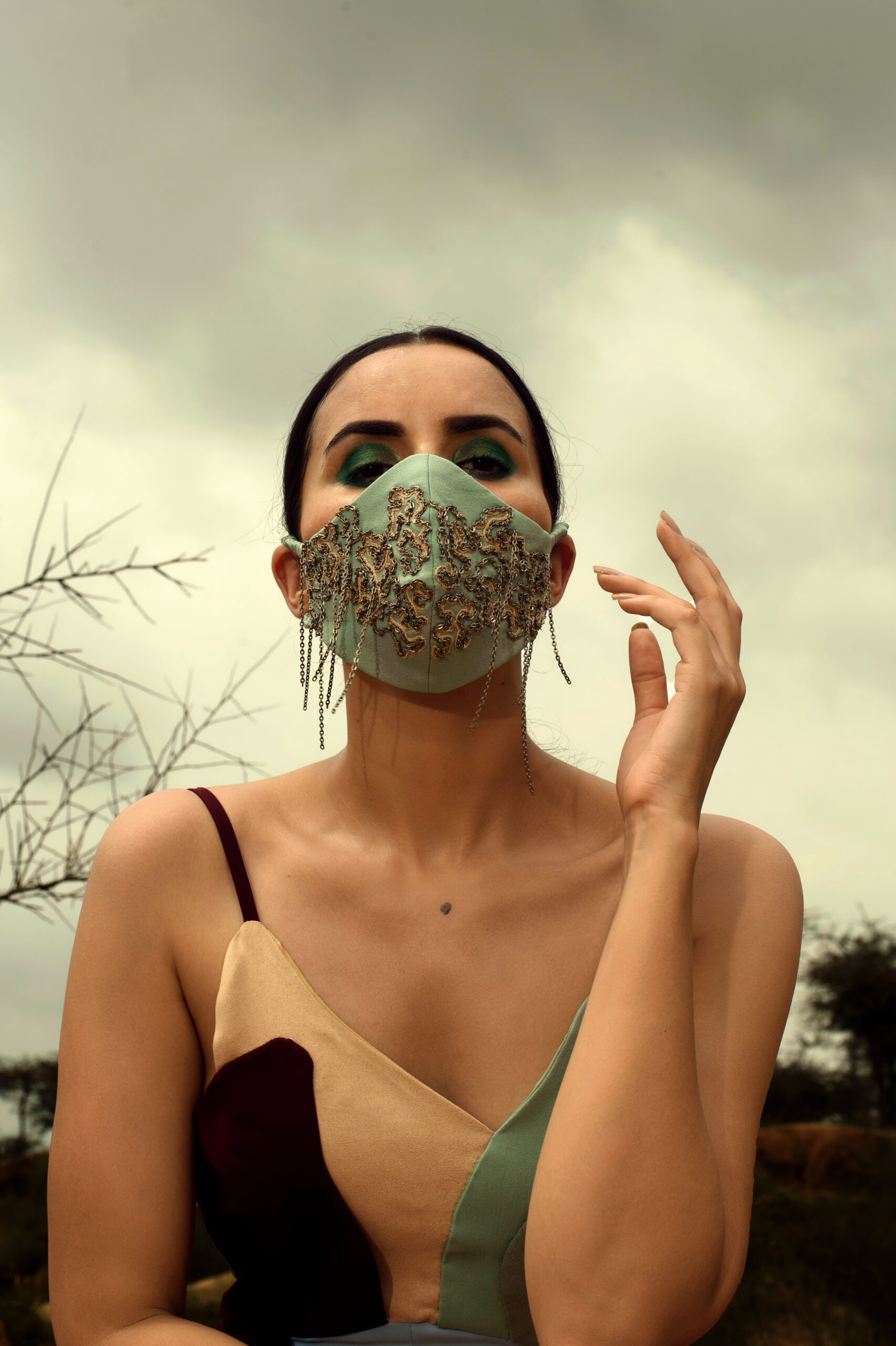 Folded Waves Embroidered Mask - SAL