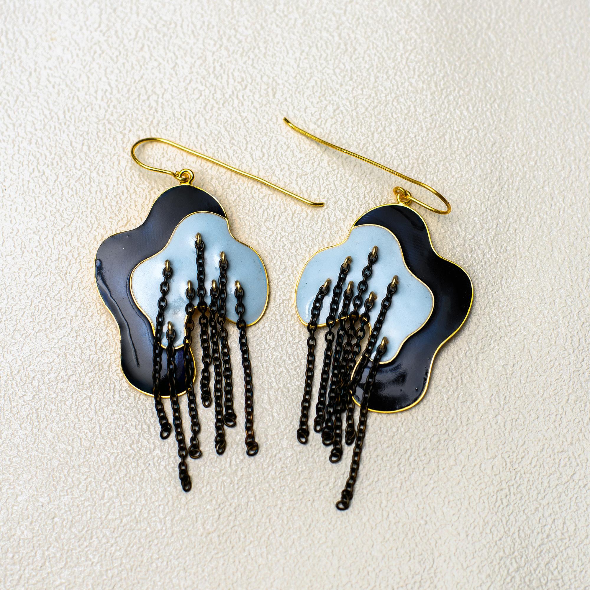 Metal Mystic Lines Earring - Navy Blue - SAL