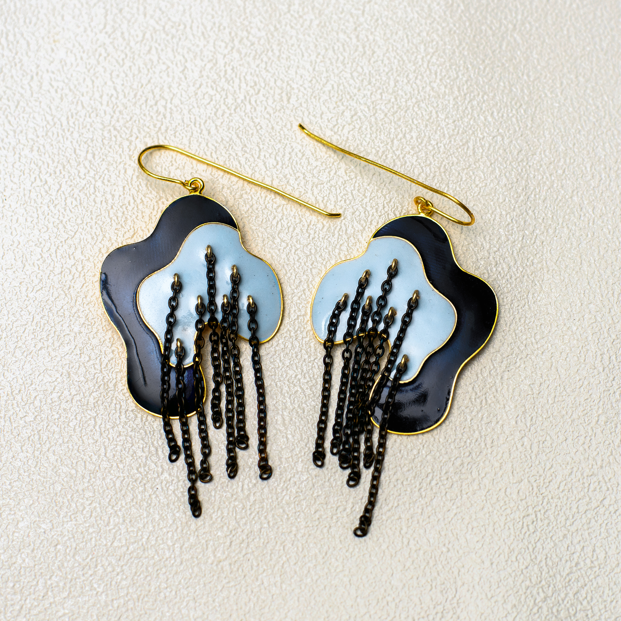 Metal Mystic Lines Earring - Navy Blue - SAL