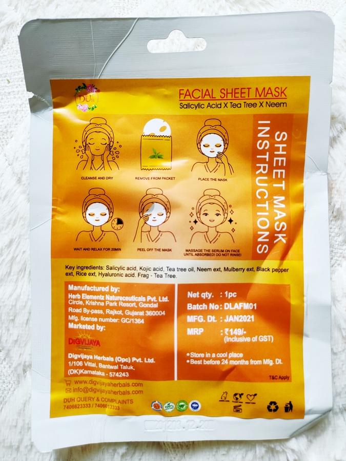 Digvijay Herbals Facial Sheet Masks Review
