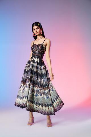 Label Ritu Kumar_Black Printed Strappy Midi Dress_INR 8900