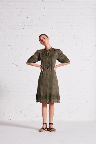 Label Ritu Kumar_Olive Green Crinkled Short Dress_INR 5900