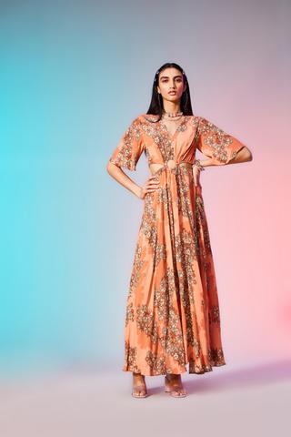 Label Ritu Kumar_Rose Floral Print Maxi Dress_INR 6900