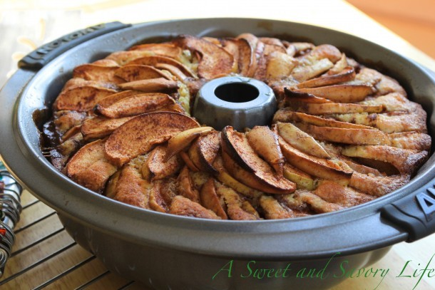 Apple cake just out of the oven
