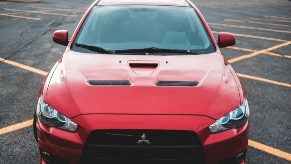 Front view of a red car