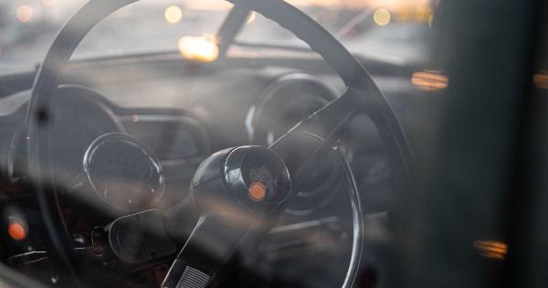 A vintage car steering wheel