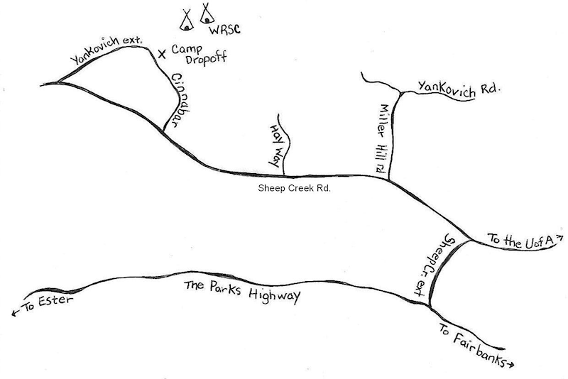 Map to Wild Rose Summer Camp