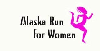 Alaska Run for Women pink woman running silhouette logo