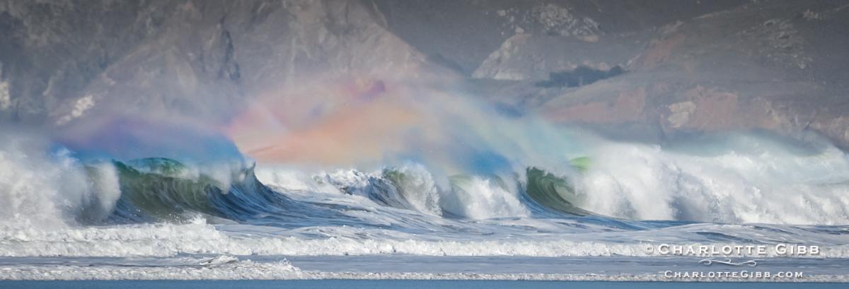 Rainbow on High Surf Waves, Ocean Beach, San Francisco