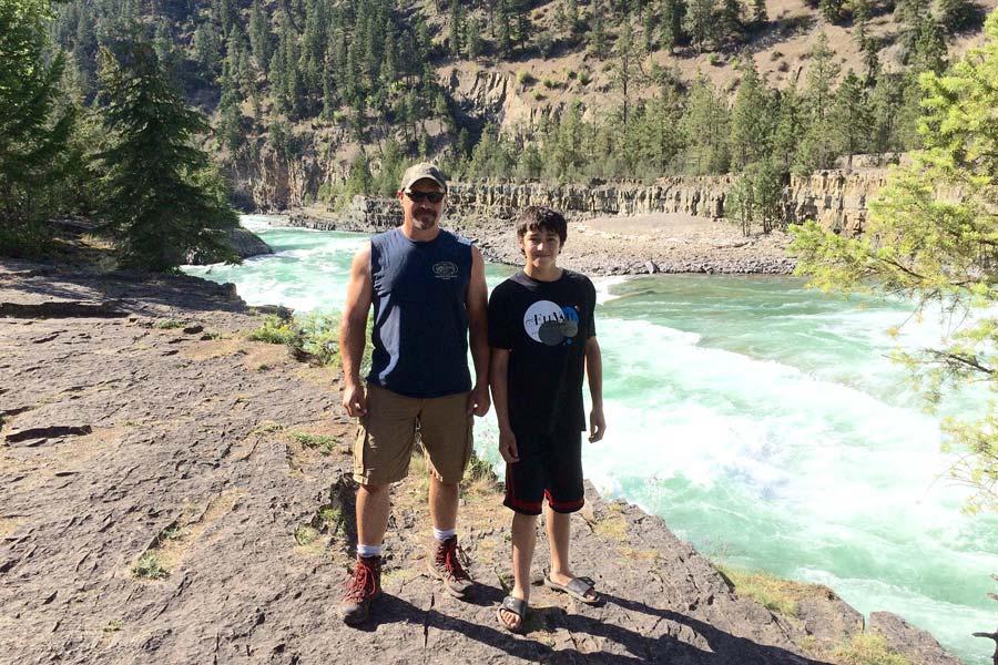 Jim Webley and son at Kootenai Falls