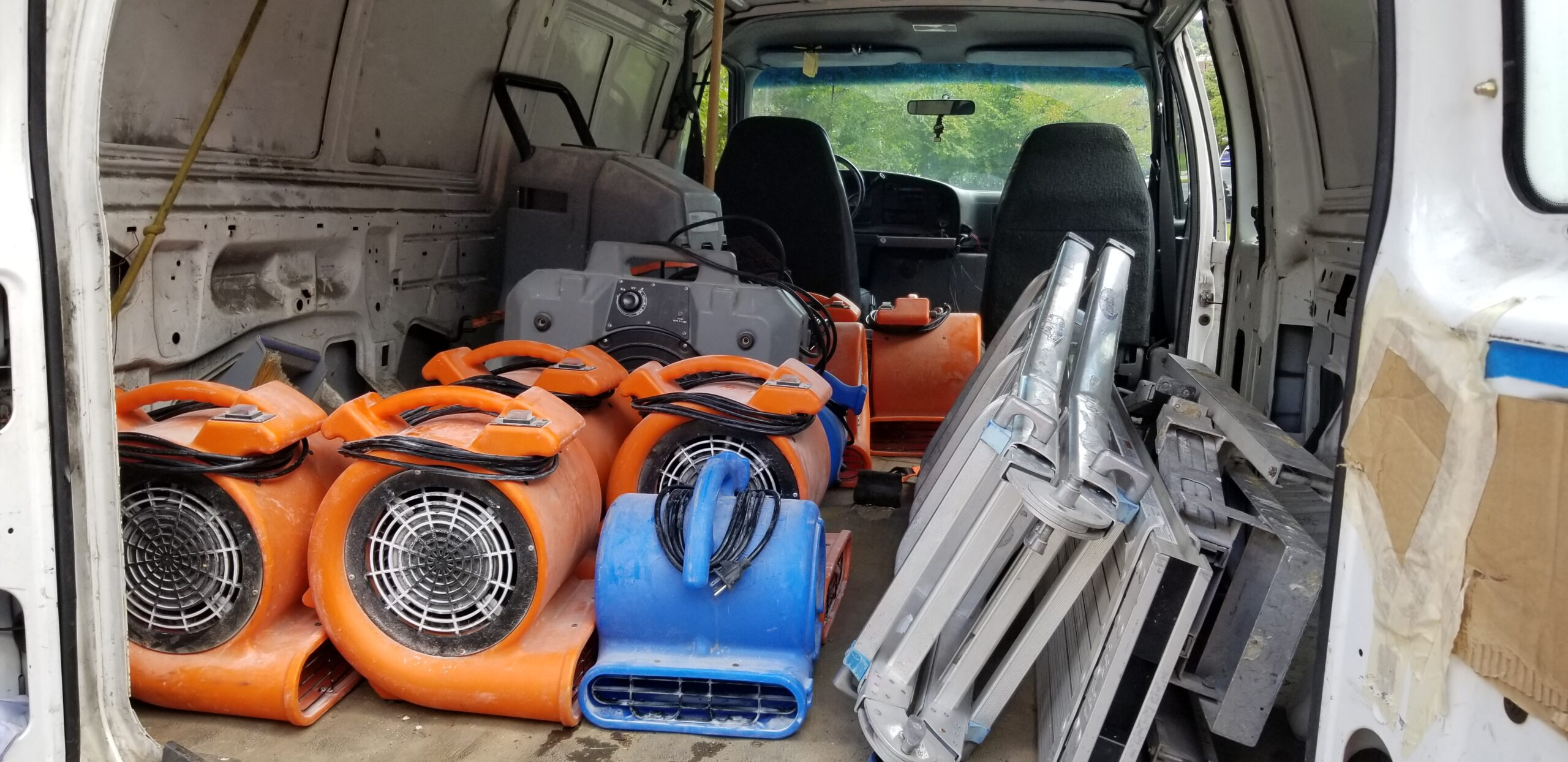 equipment in van