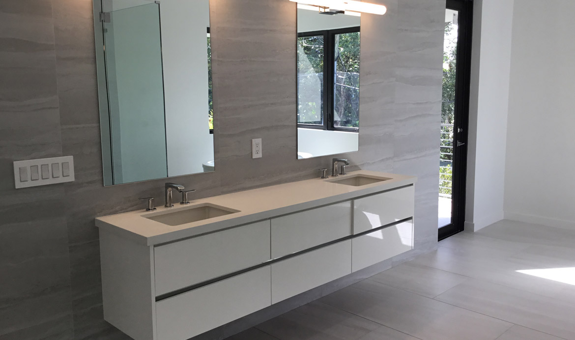 White Double Sink Cabinet