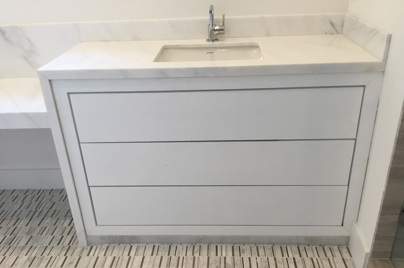 White single sink marble top cabinet