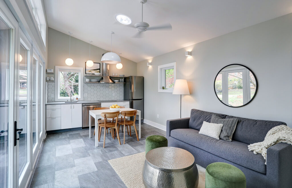 Alloy Workshop   Architecture and Construction   Design Build Firm   Charlottesville, Virginia   Accessory Dwelling Unit   Kitchen and Living Area