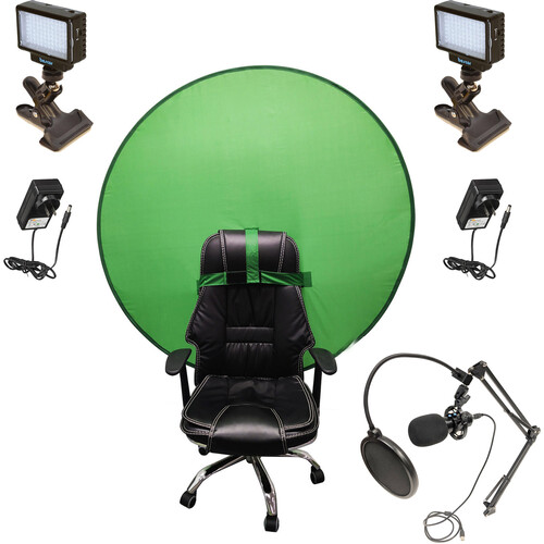 Bescor Dual LED70 with KLP Mount, AC Adapters, SM2 Ball Mounts, TurtleShell Green Screen & USB Microphone Streaming Kit