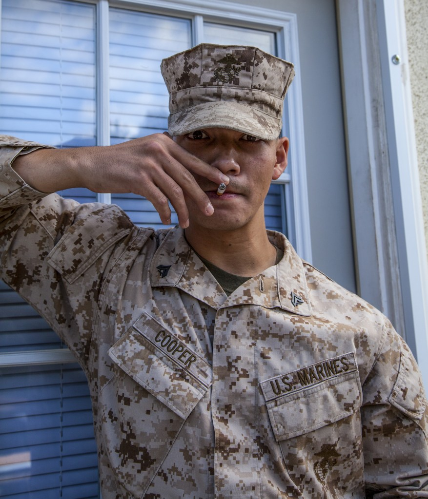 While spending a three year stint, former United States Marine, Brian Cooper, became a chain smoker.  Cooper acclimates to Pierce college no smoking rules. Photo: Lynn Levitt