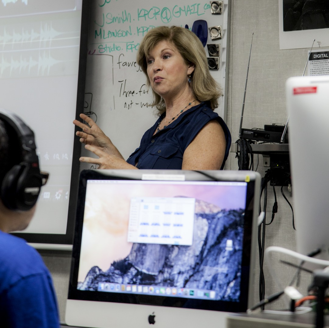 Trace Savage Savage had covered the Heidi Fleiss and O. J. Simpson civil trials as a newscaster/anchor/reporter, before coming to teach in the Multi Media department at Pierce College, Woodland Hills, Calif., Sept. 23, 2015. (Photo by: Lynn Levitt)