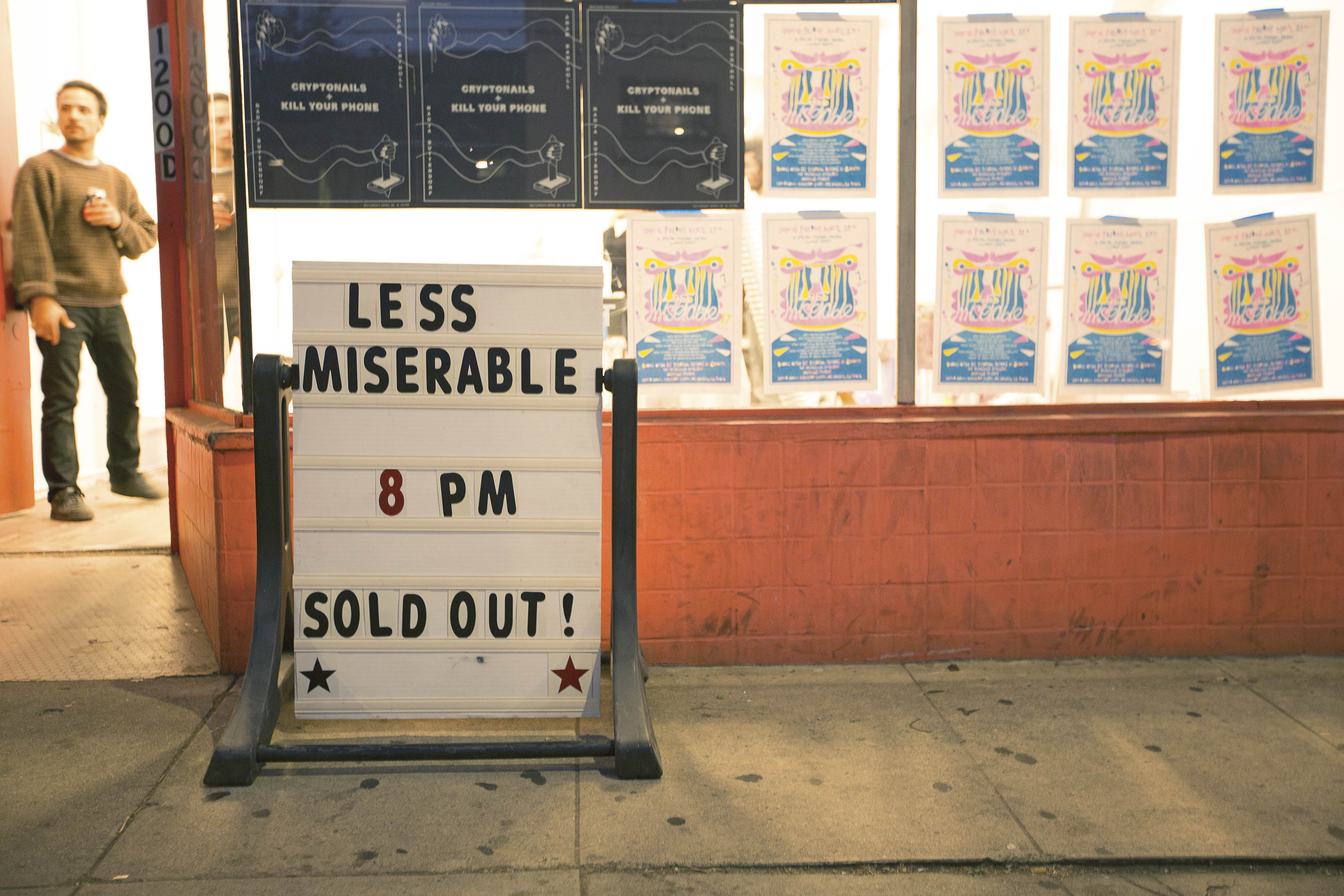 The marquee displays the comedy event Less Miserable that took place at the Machine Project shop in Echo Park, Calif. on April 29, 2016.(photo by Joshua Duarte)
