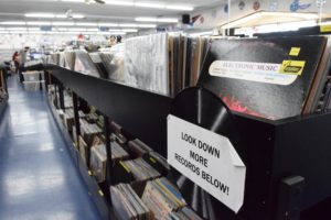 Rows of records sit on bins at CD Trader. The record store is open Monday through Saturday, 10 a.m. to 8 p.m. and Sunday from 11 a.m. to 7 p.m. It is located at 18926 Ventura Boulevard, Tarzana, CA 91356 Phone: (818) 705-3544.
