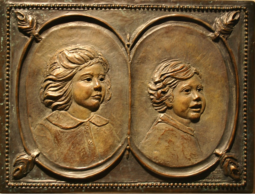 "Margaret and Tripp, bronze, 8x11"""