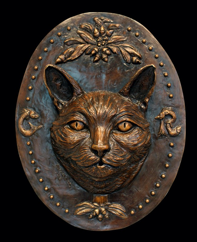 "Cat Medallion, bronze, oval 18"""
