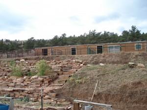 Barn and gardens at Mountain Sky Ranch