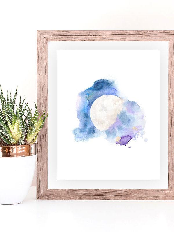 Cosmic Moon watercolor art print by Hand-Painted Yoga
