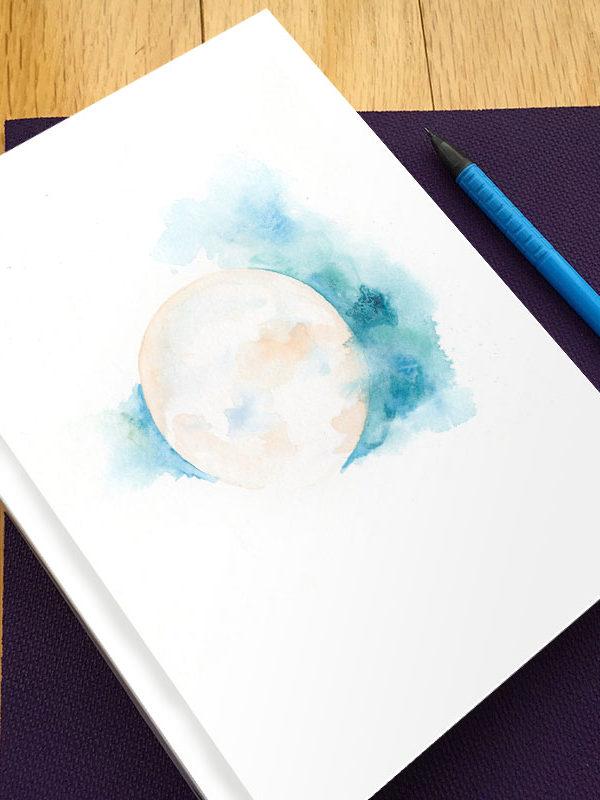 Sacred Moon Hardbound Gratitude Journal by Hand-Painted Yoga