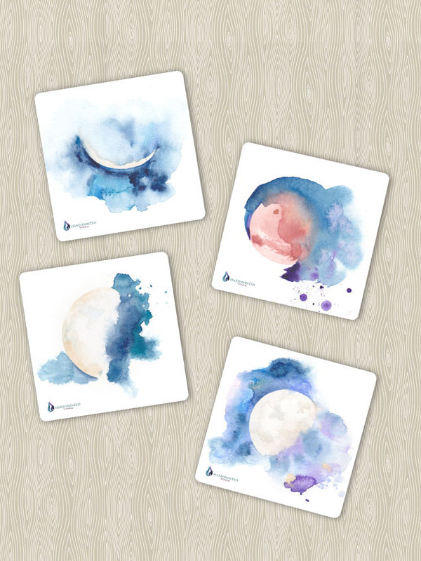 Moon phase coasters by Hand-Painted Yoga