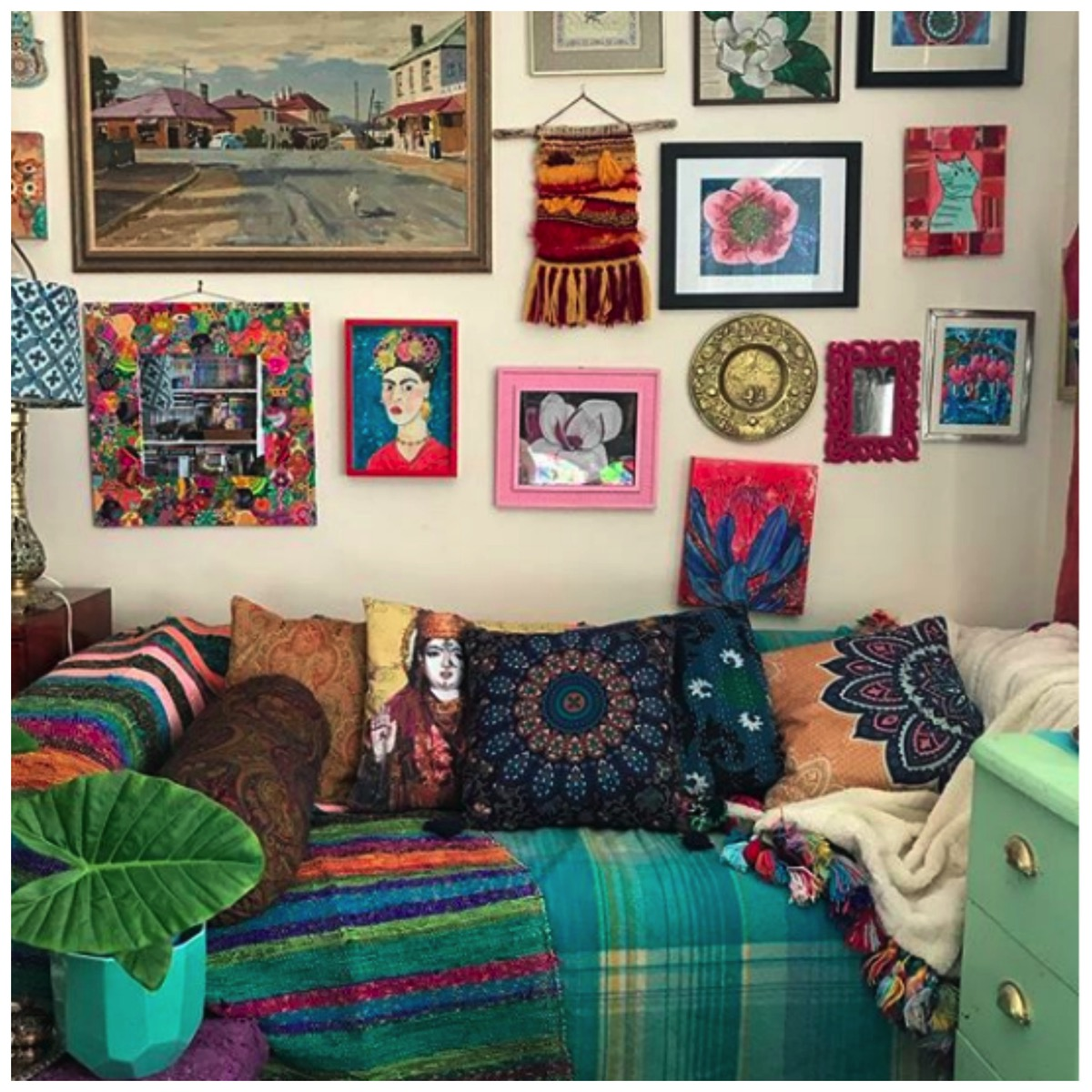 Colorful boho gallery wall