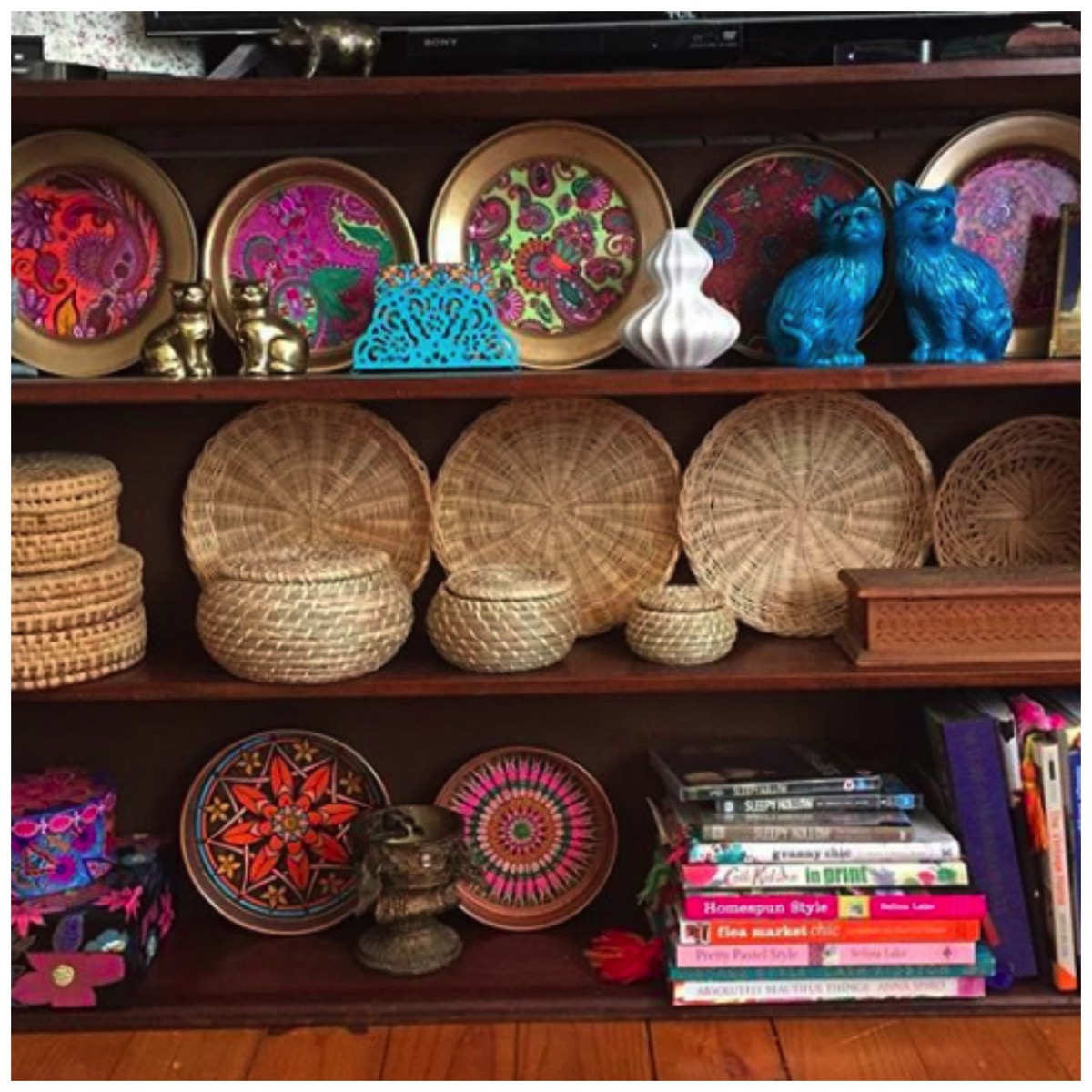 Wicker plate and basket collection boho