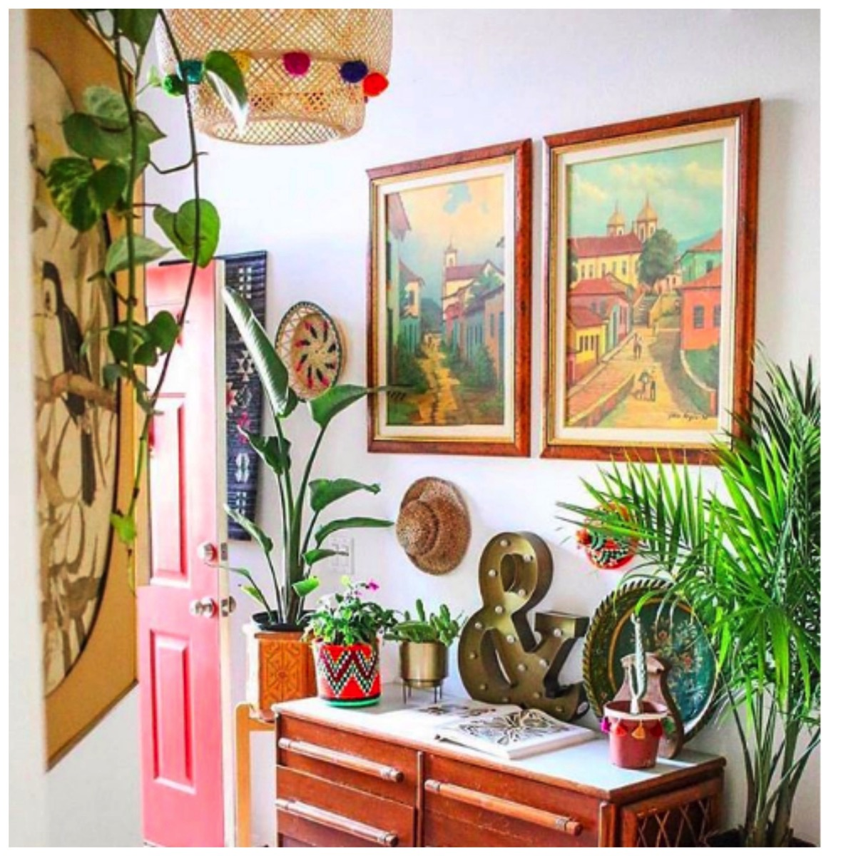 Spanish style boho entry way for home